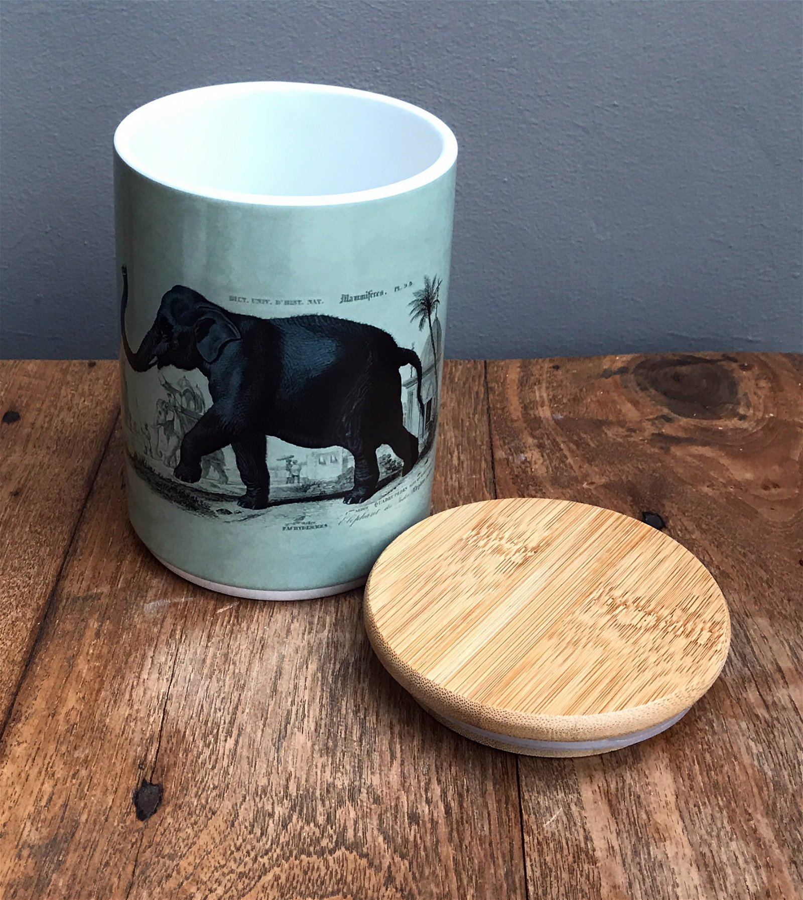 Ceramic Canister With Elephant