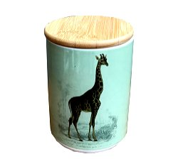 Ceramic Canister With Giraffe