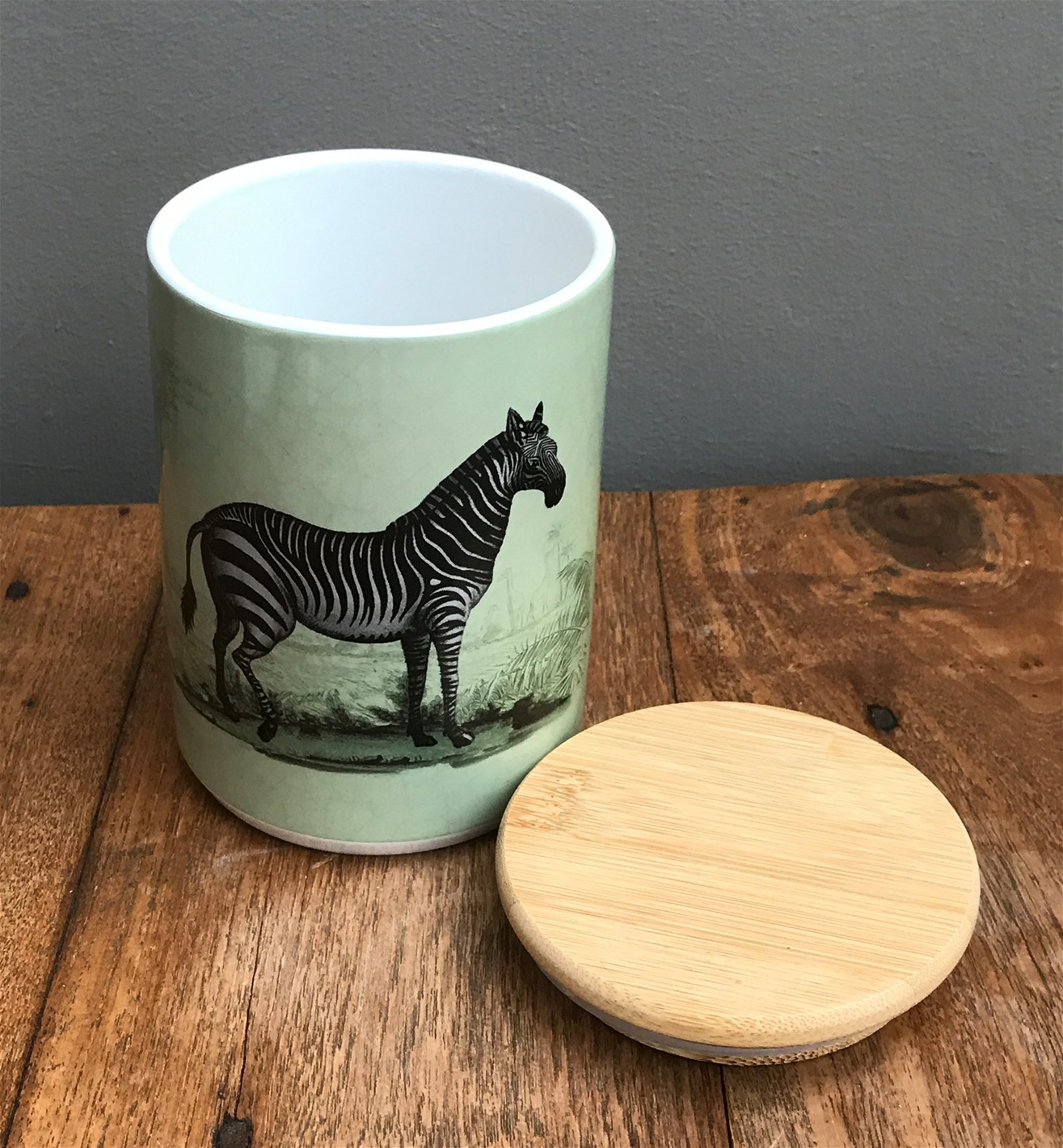 Ceramic Canister With Zebra