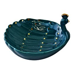 Ceramic Peacock Trinket Dish