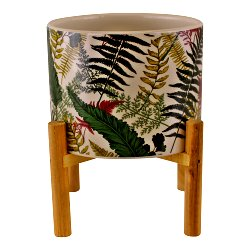 Fernology Ceramic Candle Pot with Wooden Stand, Full Fern Design