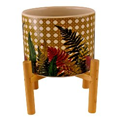 Fernology Ceramic Candle Pot with Wooden Stand, Wicker Fern Design