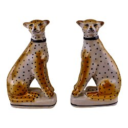 Set of 2 Left & Right Facing Ceramic Crackle Glaze Leopard Ornaments