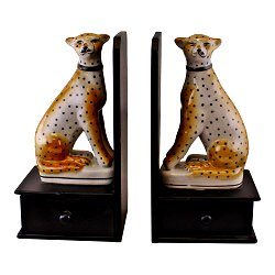 Set of 2 Ceramic Crackle Glaze Leopard Bookends