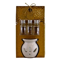 Ceramic Oil Burner With 3 Bottles of Sandalwood Fragranced Oil