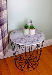 Circular Geometric Side Table Black & Marble Effect
