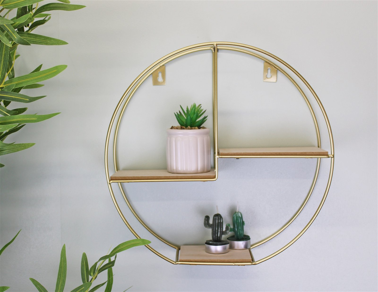 Gold Round Metal Wall Shelf with 3 Shelves, 34cm